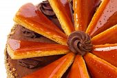 picture of tort  - Closeup of famous Hungarian Dobos torte  - JPG