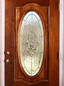 stock photo of stained glass  - Stained Oval Glass Wooden Door with accents - JPG