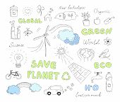 Ecology Doodles Vector Elements Set