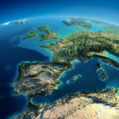 Detailed Earth. Spain And The Mediterranean Sea poster