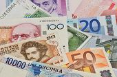 stock photo of lira  - banknotes of abolished old european currencies like Lira - JPG