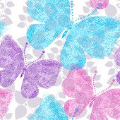 stock photo of lilas  - Spring seamless floral white pattern with colorful grungy butterflies  - JPG