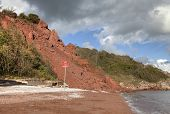 picture of landslide  - Coastal erosion at Babbacombe Beach - JPG