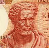 foto of socrates  - Democritus on 100 Drachmai 1967 Banknote from Greece - JPG