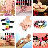 stock photo of nail paint  - Collage of beautiful woman manicure - JPG