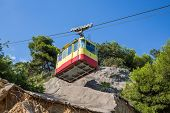 foto of landslide  - Funicular travels through places with partially destroyed the iron - JPG