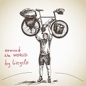 image of long distance  - Hand drawn tourist long distance cyclist - JPG