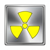 image of radium  - Square metallic icon with carved design on grey background - JPG