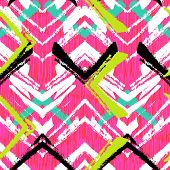foto of bohemian  - Multicolor hand drawn pattern with brushed zigzag line - JPG