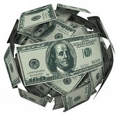 A ball or sphere of 100 dollar american bills, cash or currency to illustrate growing your savings,