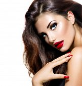 image of long nails  - Sexy Beauty Girl with Red Lips and Nails - JPG