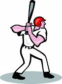 stock photo of hitter  - Illustration of a baseball player batter hitter batting with bat viewed from side done in cartoon style isolated on white background - JPG