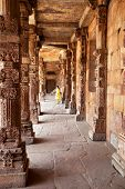 stock photo of qutub minar  - Detail of Qutub  - JPG