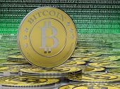 stock photo of coins  - one or more bitcoins - JPG