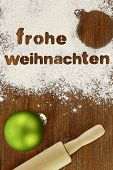 image of weihnachten  - Frohe weihnachten baking preparation background - JPG