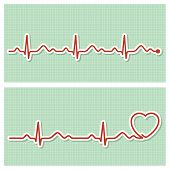 stock photo of applique  - Medical banners with healthy cardiogram line in vintage paper style - JPG