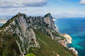 stock photo of gibraltar  - View of the Gibraltar rock from the Upper Rock