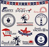 image of bon voyage  - Set of summer and sea labels symbols and emblems - JPG