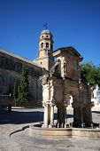 pic of baeza  - Stone fountain with the cathedral to the rear Baeza Jaen Province Andalusia Spain Western Europe.