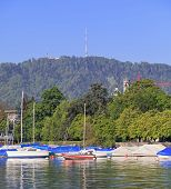 stock photo of zurich  - Lake Zurich and Mt - JPG