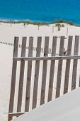 image of tarifa  - Wooden fences on deserted beach dunes in Tarifa Spain - JPG