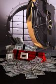 foto of time-bomb  - Time Bomb in Bank Vault with money - JPG