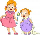 stock photo of scepter  - Illustration of Sisters Dressed Up as Princesses - JPG