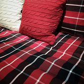 picture of pillowcase  - Checked bed Sheets with red and white cushions - JPG