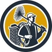 image of sweeper  - Illustration of a chimney sweep holding sweeper and rope viewed from side set inside circle on isolated background done in retro style - JPG