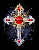image of adornment  - jewelry Gothic cross of silver and gold adorned with rubies and pattern on a black background - JPG