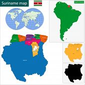 stock photo of suriname  - Map of the Republic of Suriname with the districts colored in bright colors and the main cities - JPG