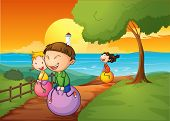 foto of bouncing  - Illustration of the happy kids playing with the bouncing balls - JPG