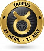 stock photo of taurus  - Taurus zodiac gold sign taurus symbol vector illustration - JPG