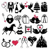 stock photo of black swan  - Vector Design wedding flat icons for Web and Mobile - JPG
