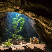 stock photo of cave  - Royal pavilion in the Phraya Nakhon Cave - JPG