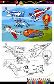 stock photo of propeller plane  - Coloring Book or Page Cartoon Illustration of Color and Black and White Planes and Aircraft Characters Group for Children - JPG