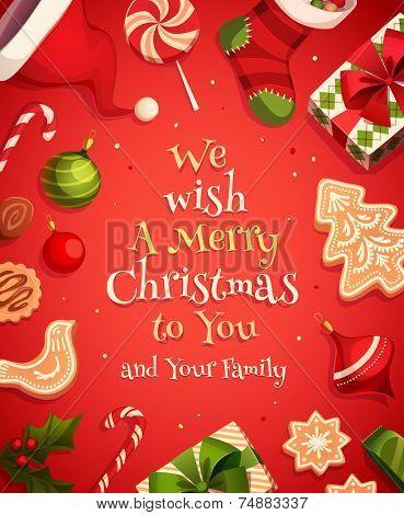 Holiday frame. Christmas card \ poster \ banner. Vector illustration. poster