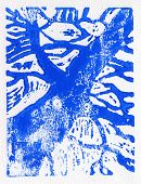 pic of linoleum  - Tree print original made in linoleum print technique in blue - JPG