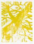 foto of linoleum  - Tree print original made in linoleum print technique in yellow - JPG