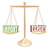 picture of export  - Import and Export 3d words on a scale to show balance in international trade and no surplus or deficit between trading countries or nations - JPG