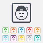 stock photo of rapper  - Sad rapper face sign icon - JPG