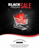 stock photo of friday  - Black friday sale shining background with photorealistic shopping cart and place for text - JPG