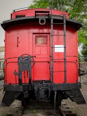 pic of caboose  - Bright red caboose at the rear of a train on display in Chattanooga Tennessee - JPG