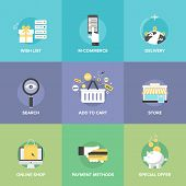 stock photo of electronic commerce  - Flat icons set of online shopping services e - JPG