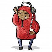 foto of hooded sweatshirt  - cartoon teenager in hooded sweatshirt - JPG
