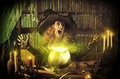 picture of witches cauldron  - Attractive witch in the wizarding lair - JPG