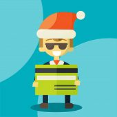 stock photo of letters to santa claus  - Happy businessman in Santa Claus hat - JPG