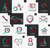 Abstract company logo collection - 16 line style business corporate logotypes, web universal icon set poster