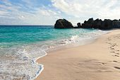 pic of long beach  - Warwick Long Bay Beach and rock formations located on the island of Bermuda near Jobsons Cove - JPG