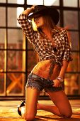 picture of cowboy  - Young woman cowboy indoors portrait - JPG